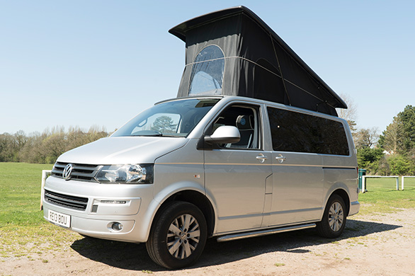 side profile of camper van with portfolio roofing area
